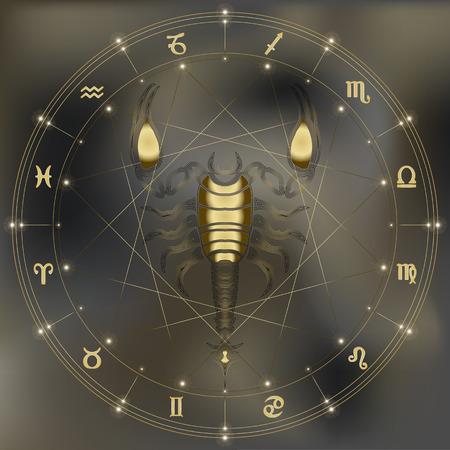 augury: Golden scorpion, zodiac Scorpio sign for astrological predestination and horoscope