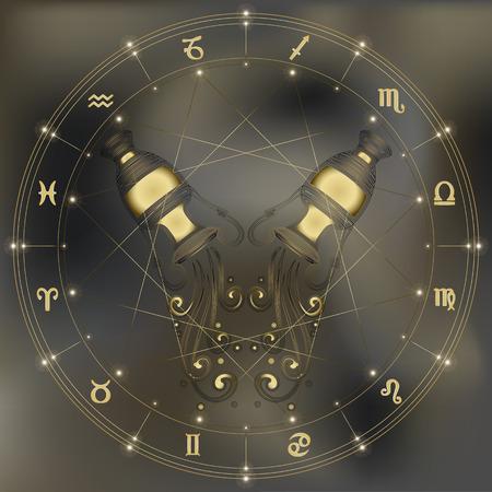 ánfora de oro con el agua que cae, signo de Acuario del zodiaco para el horóscopo y la predestinación astrológica Ilustración de vector