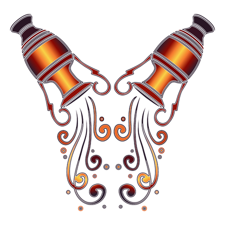 amphora: Bright colorful amphora with falling water, zodiac Aquarius sign for astrological predestination and horoscope Illustration