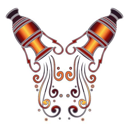 Heldere kleurrijke amfora met dalende water, dierenriem teken van Waterman voor astrologische predestinatie en horoscoop
