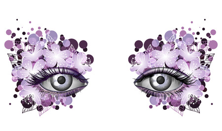 masked ball: Look of the spring, photorealistic eye artistic makeup with flowers, violet Illustration