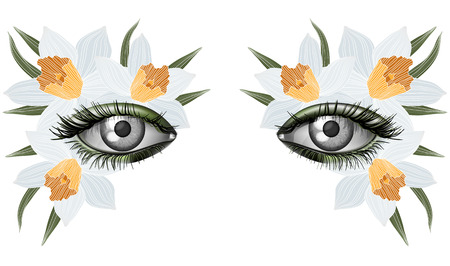 masked ball: Look of the spring, photorealistic eye artistic makeup with flowers, jonquil; narcissus