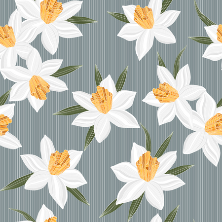 jonquil: Seamless vector jonquil flower spring pattern background, narcissus