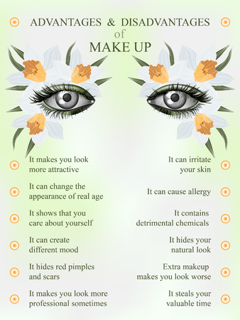 advantages: Advantages and disadvantages of makeup, spring jonquil art flower makeup infographics Illustration