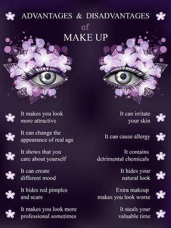 Advantages and disadvantages of makeup, spring violet art flower makeup infographics