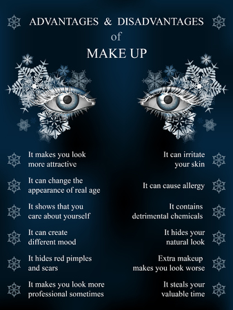 advantages: Advantages and disadvantages of makeup, winter blue art snowflake makeup infographics