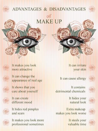 masked ball: Advantages and disadvantages of makeup, summer pink rose art flower makeup infographics