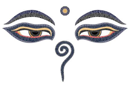 Boeddha ogen, Nepal, symbool van wijsheid en verlichting Stock Illustratie
