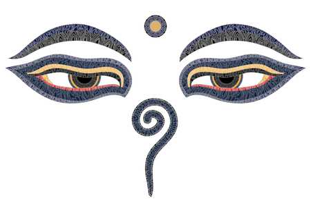Buddha eyes, Nepal, symbol of wisdom and enlightenment