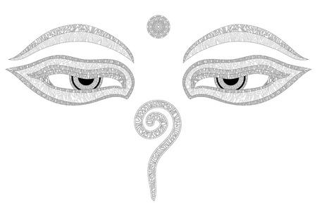 composure: Buddha eyes, Nepal, symbol of wisdom and enlightenment