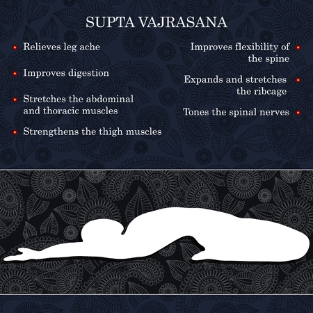 benefits: Yoga pose infographics, benefits of practice Supta Vajrasana