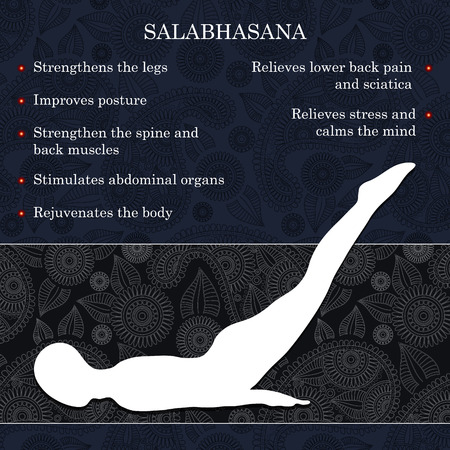 Yoga pose infographics, benefits of practice Salabhasana 向量圖像