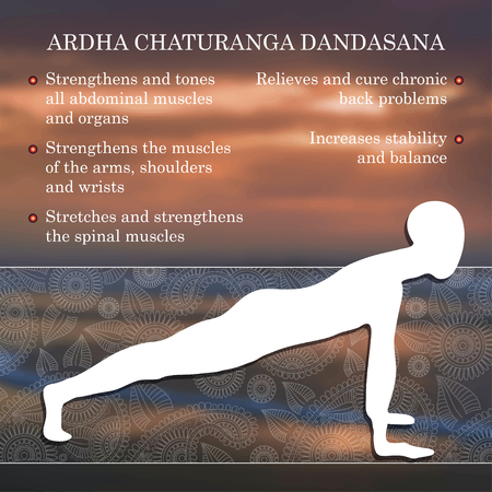practice: Yoga pose infographics, benefits of practice Ardha Chaturanga Dandasana