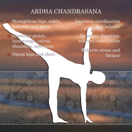 chandrasana: Yoga pose infographics, benefits of practice Ardha Chandrasana