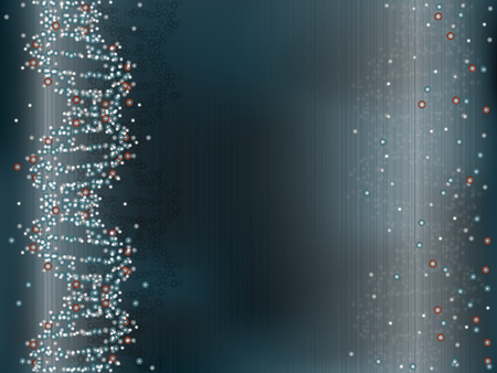 medical abstract: DNA helix structure in blue, science background Illustration