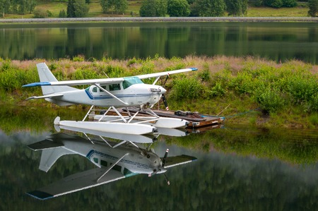 hydroplane: Hydroplane near the ramp on the lake in Norway Stock Photo