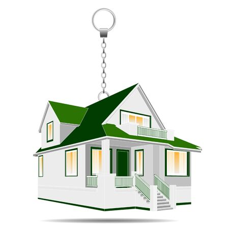 Vector illustration of house as a keychain, householder, real estate for sale or present