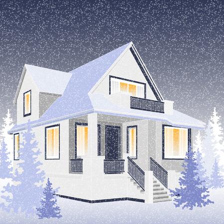 Vector illustration of the winter house, householder, real estate Ilustração