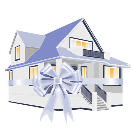 Vector illustration of the house with the ribbon for sale or present