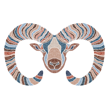 Bright patterned Ram, Aries sign for astrological predestination and horoscope