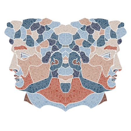 augury: Bright patterned twins, Gemini sign for astrological predestination and horoscope