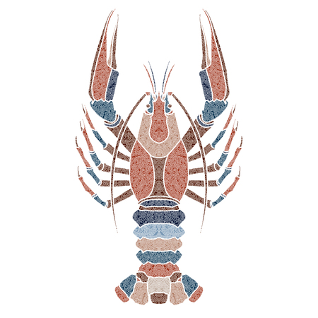Bright patterned crayfish, Cancer sign for astrological predestination and horoscope Ilustração
