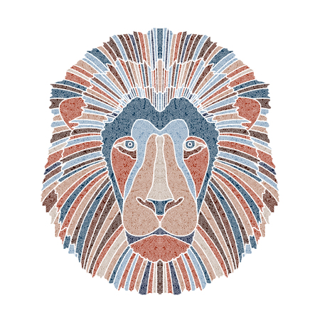 Bright patterned lion head, Leo sign for astrological predestination and horoscope