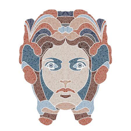 Bright patterned woman portrait, Virgo sign, patterned