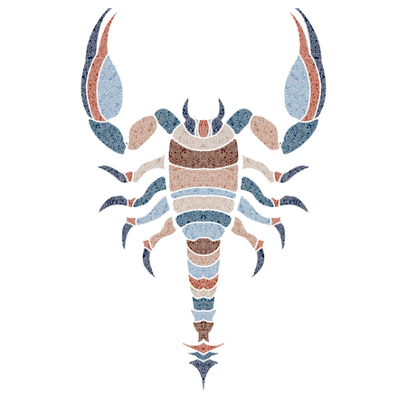 Bright patterned scorpion, Scorpio sign for astrological predestination and horoscope