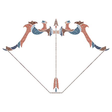 augury: Bright patterned bow and arrow, Sagittarius sign for astrological predestination and horoscope