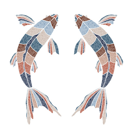 augury: Bright patterned fishes,Pisces sign for astrological predestination and horoscope