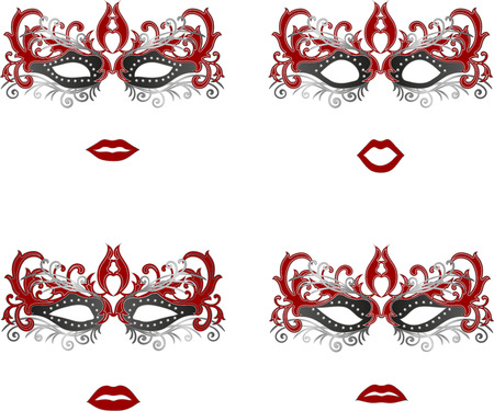 Ornate masquerade mask set with different face emotions