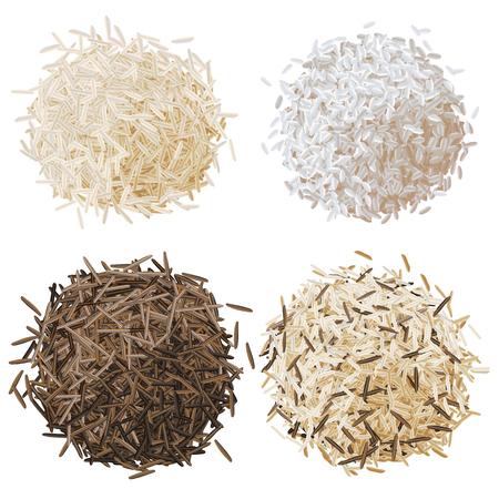 Realistische rijst stapel set illustratie, basmati, risotto, wilde bruine rijst en gemengde rijst
