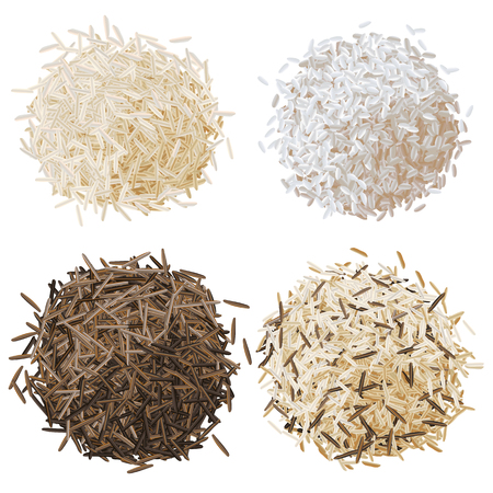 Realistic rice pile set  illustration, basmati, risotto, wild brown rice and mixed rice