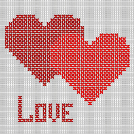 Hand-made red embroider heart, St Valentines day symbol
