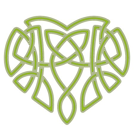 Celtic pattern heart, intertwine knot ethnic symbol