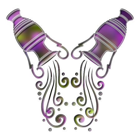 Bright amphora, zodiac Aquarius sign Illustration