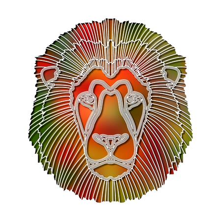 Bright colorful lion portrait, zodiac Leo sign