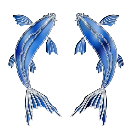 fishes: Bright fishes, zodiac Pisces sign Illustration