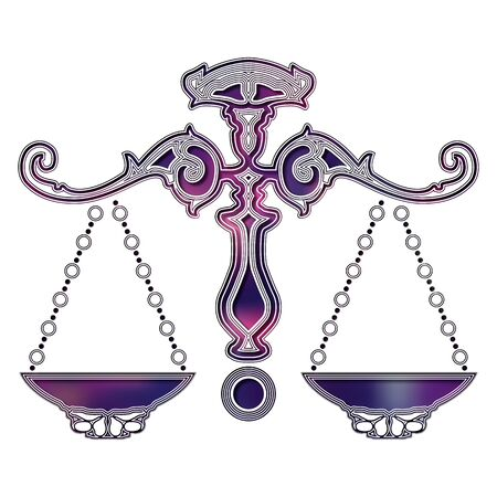 Bright colorful scales, zodiac Libra sign for astrological predestination and horoscope