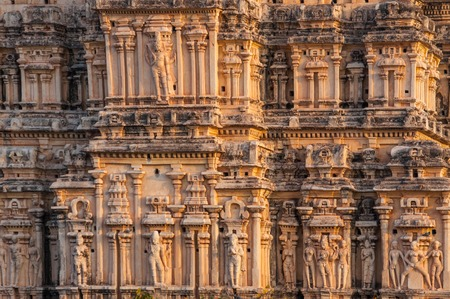 Beautifully carved temple wall in India Stock Photo