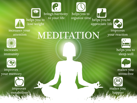 Advantages and benefits of meditation infographic, meditating girl silhouette
