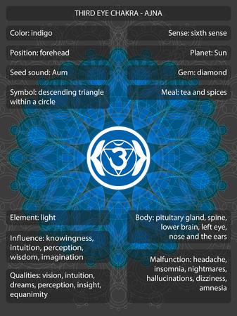 Símbolos de chakras com significados infográfico Ilustración de vector