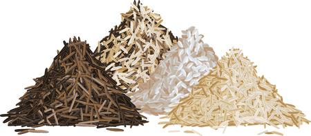 Rice pile set vector illustration Vettoriali