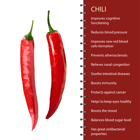 Red hot chili pepper pod realistic image vector illustration