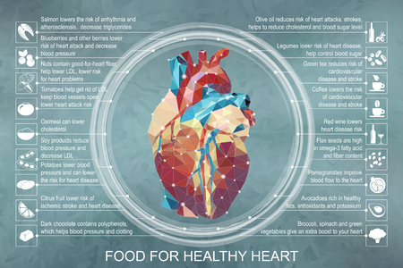 Vector illustration infographic. Food for healthy heart whith polygonal realistic heart image and food icons