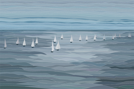 Sailboats in the sea vector landscape illustration with contour
