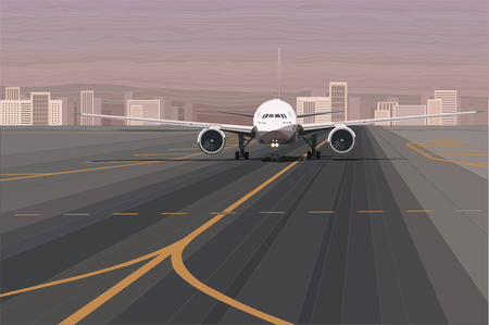 White passenger airplane on the airport runway vector illustration. Going to travel