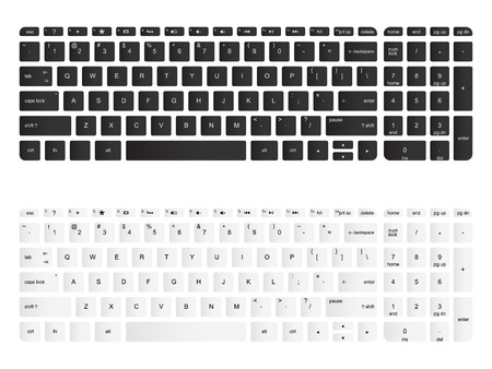 Computer keyboard vector isolated illustration. Black and white, top view