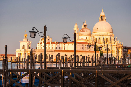 Beautiful morning in Venezia , Venice, Italy, berth for boats